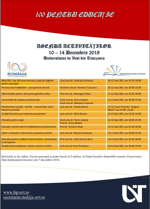Agenda 100 pentru educație