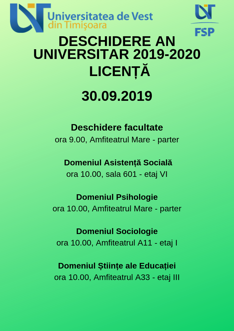 deschidere an universitar 2019-2020