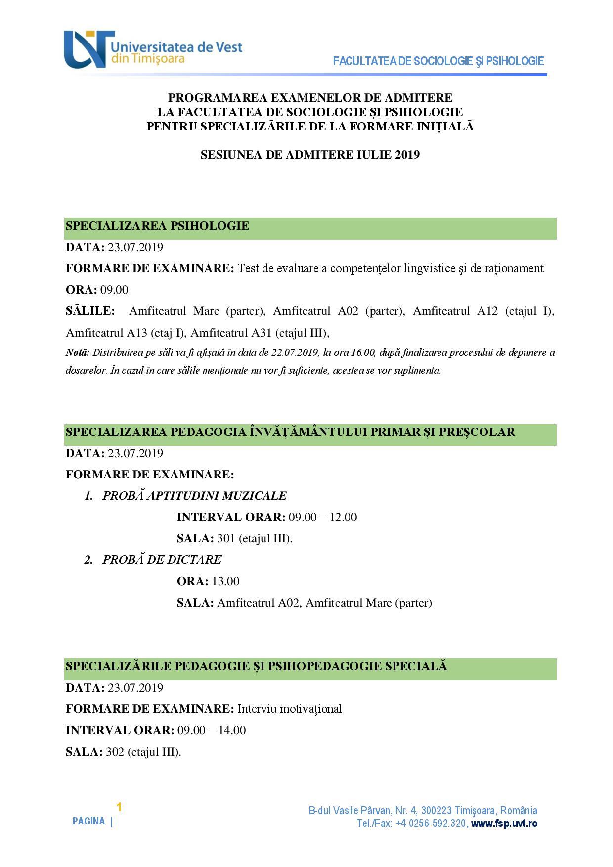 examen admitere iulie 2019 FSP